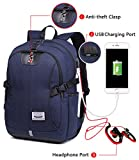 Travel Laptop Backpack School College Bookbag For Men Business Computer Rucksack with USB Charging Port, Anti Theft Clasp and Headphone Port (Blue) Review