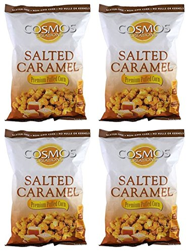 Cosmo Creations Premium Puffed Corn - Salted Caramel Popcorn Without Hulls - Gluten-Free Snack - 6.5 Ounces Each Bag (Pack of 4)