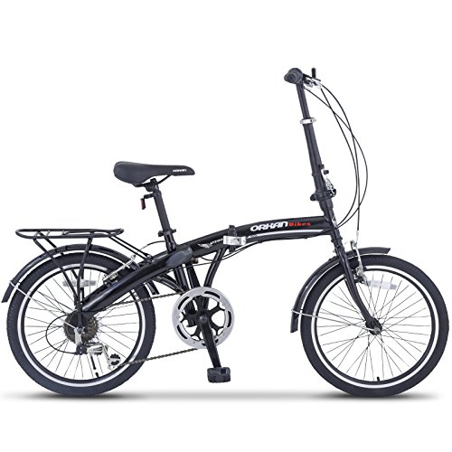 "ORKAN 20"" 6 Speed Folding-Bicycle Foldable Bike Road Bike Shimano Hybrid Black"