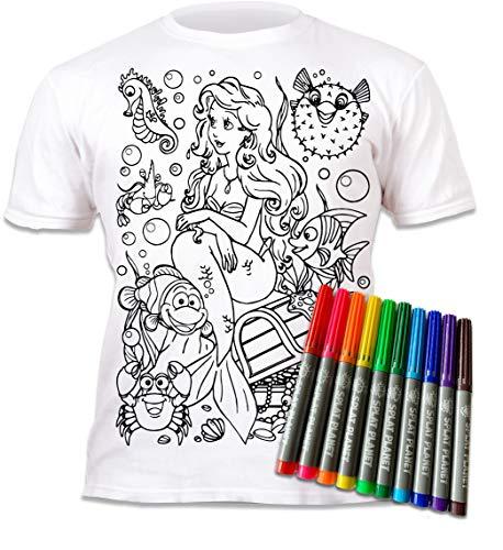 Splat Planet Kleur-in Meermin T-shirt met 10 niet-giftige wasbare magische pennen – Kleur-binnen en was uit T-shirt