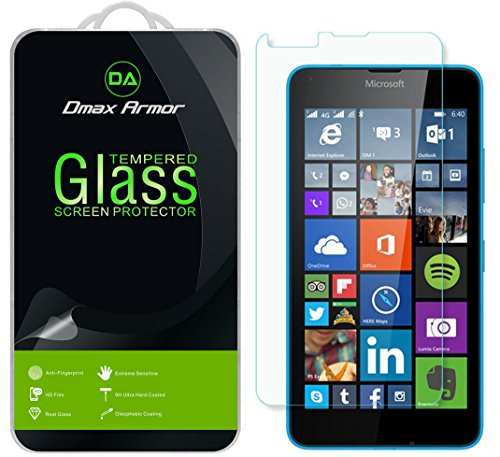 (Dmax Armor for Microsoft Lumia 640 Glass Screen Protector, [Tempered Glass] 0.3mm 9H Hardness, Anti-Scratch, Anti-Fingerprint, Bubble Free, Ultra-Clear)