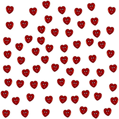 Small Red Hearts Flatback Buttons for Scrapbooking (Heart Button Embellishment)