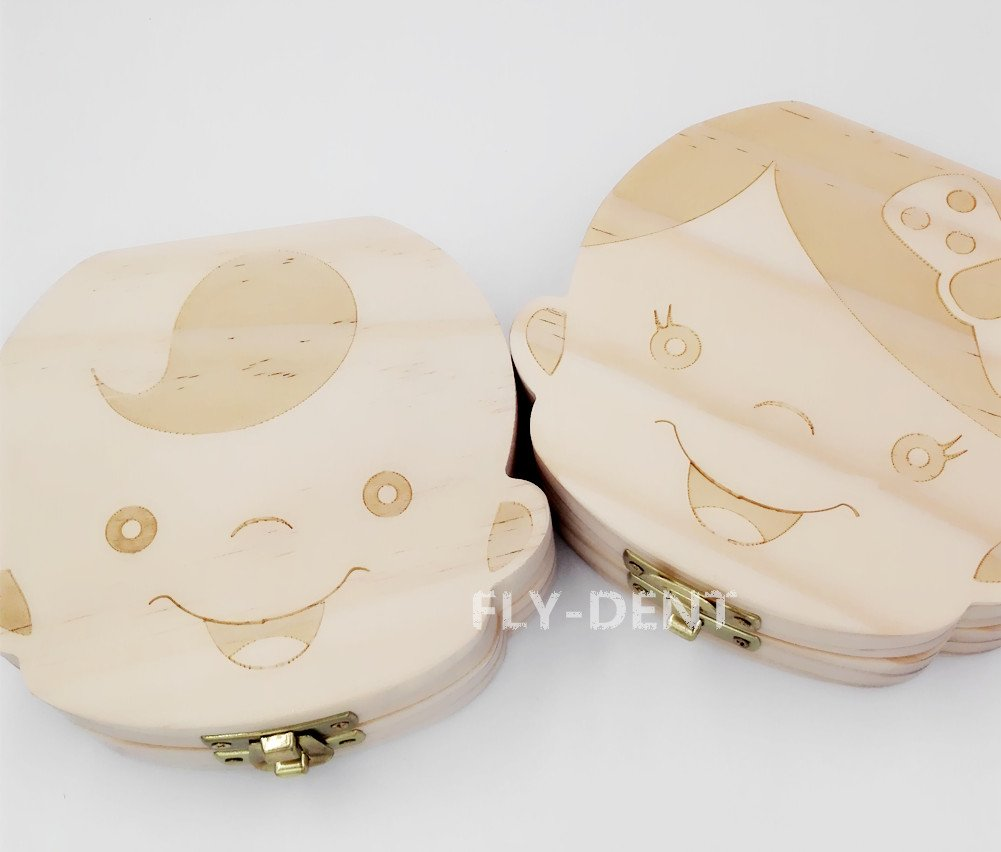 Wood Boy Shape Baby Teeth Box English Version 1Pc by fly-dent (Image #1)