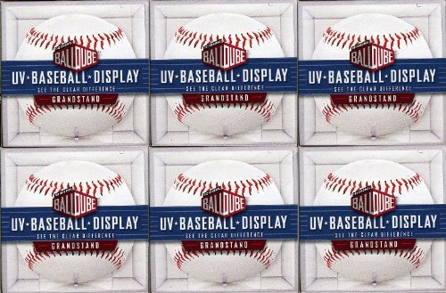 Package of SIX(6) Baseball Acrylic BallQube Grandstand Display Sports Memorabilia Holders with UV Protection ! Crystal Clear – 2 Piece Design that Holds Regular Sized - Autographed Packages