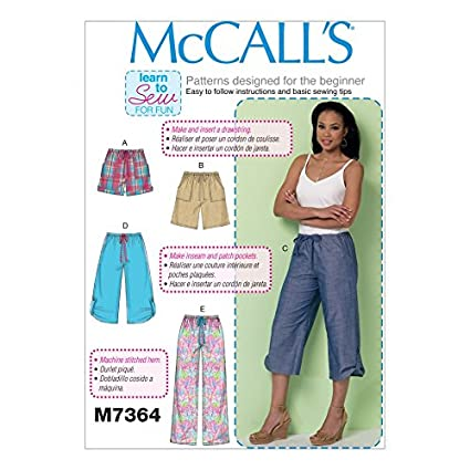 Amazon.com: McCalls Ladies Easy Learn to Sew Sewing Pattern 7364 ...
