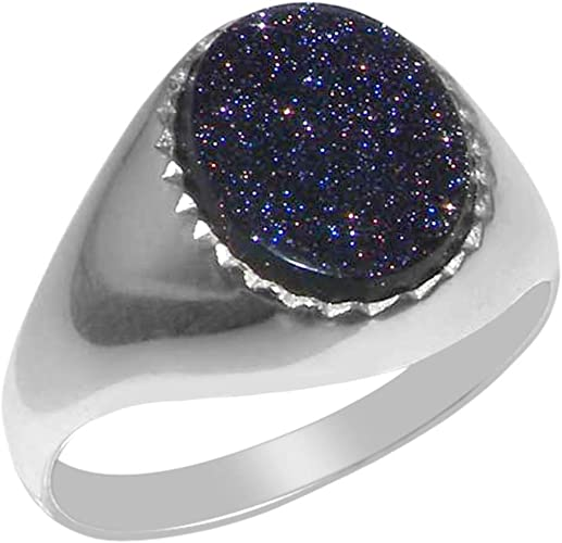 Sterling Silver Mens Blue Goldstone Signet Ring Sizes 8 to 12 Available