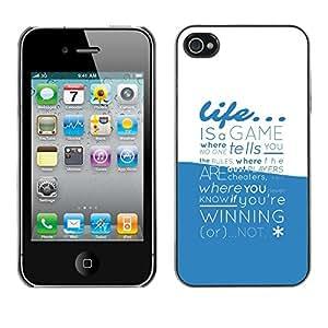 Cubierta de la caja de protección la piel dura para el Apple iPhone 4 / 4S - Life Is A Game Typography