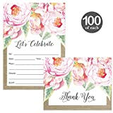 All Occasion Invites ( 100 ) & Matched Thank You Cards ( 100 ) Set with Envelopes Beautiful Pink Peony Blooms Birthday Bridal Shower Rustic Fill-in Invitations & Folded Thank You Notes Best Value Pair