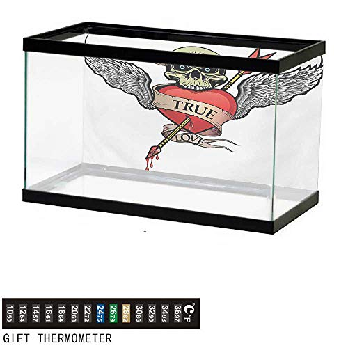 (Aquarium Background,Tattoo,Angel Wings with Skull Heart Full of Blood Symbol of Real Love Valentines,Red White and Black Fish Tank Backdrop 60