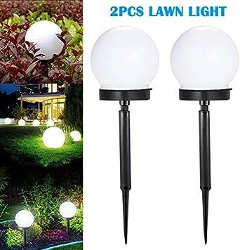 2 luces solares para exteriores, lámpara de jardín de jardín, luz de suelo de césped, color blanco: Amazon.es: Iluminación
