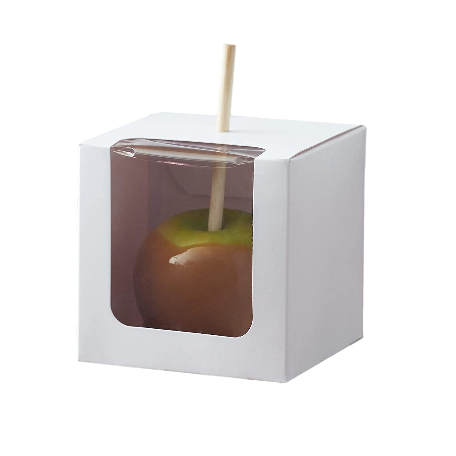 Tekbotic White 1-Piece Candy/Caramel Apple Boxes with Hole and Window - 10/Pack