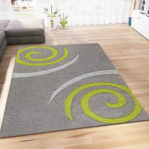 VIMODA Teppich Modern Wohnzimmer Teppiche Grün Grau Kreisel Muster Hochwertig Handgeschnittene Konturen 160x230 cm