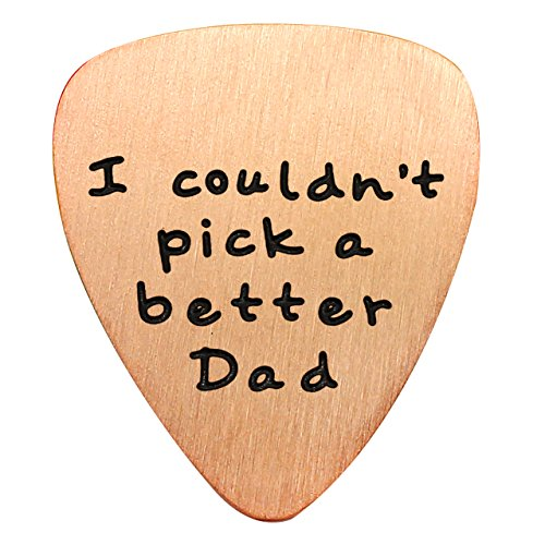 (lauhonmin Mens I Couldn't Pick a Better Dad Guitar Pick Custom Gift for Daddy Papa Stainless Steel (Rose Gold))