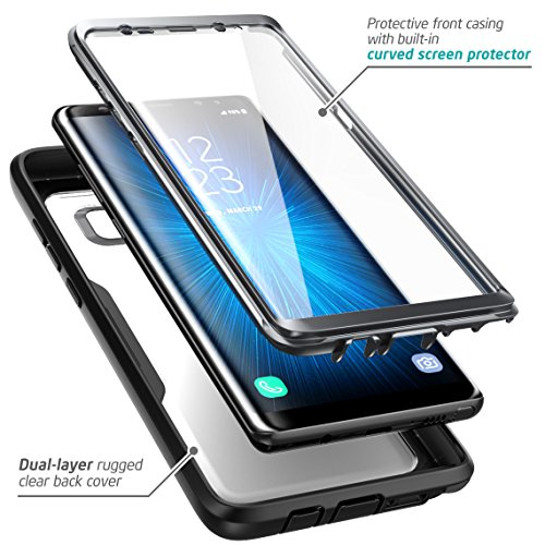 i-Blason Galaxy Note 8 Case, [Heavy Duty Protection] [Clear Back] [Magma Series] Shock Reduction / Full body Bumper Case with Built-in Screen Protector for Samsung Galaxy Note 8 2017 (Black)