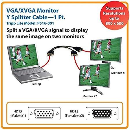Tripp Lite P516-001 Monitor Y-Splitter for Standard-Resolution Monitors 1ft