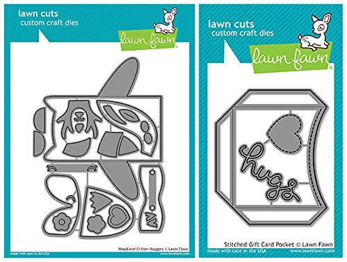 Pocket Hugger (Lawn Fawn Lawn Cut Dies - Woodland Critter Huggers (LF1557) and Stitched Card Pocket (LF1558) - 2 Piece Bundle)
