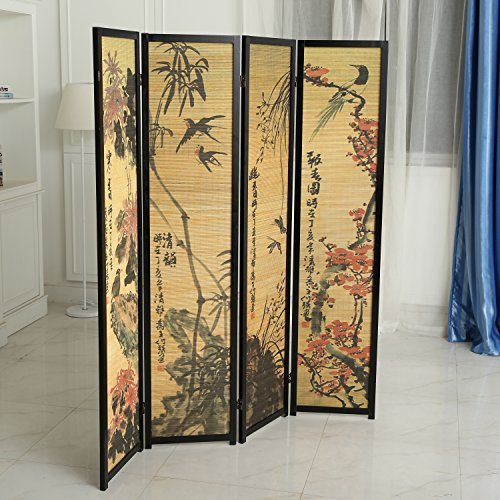 Hinged Room Dividers : Decorative chinese calligraphy design wood bamboo hinged
