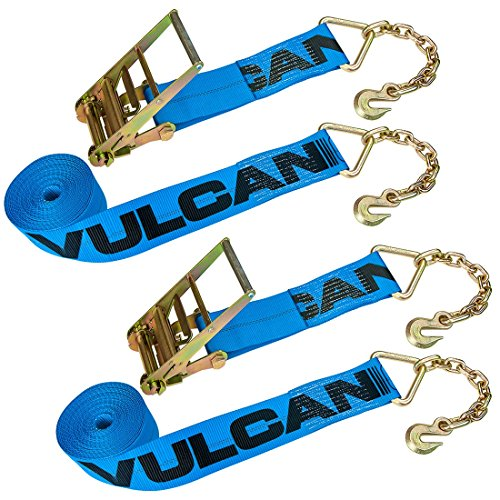 Vulcan Brands Heavy Duty Ratchet Strap With Chain Anchors - 6,600 lbs. Safe Working Load (4'' x 30' - Pack of 2) (Heavy Duty Ratchet Chain)