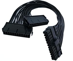 Haokiang Dual PSU Power Supply 24-Pin ATX Motherboard Adapter Cable(30cm/1FT)