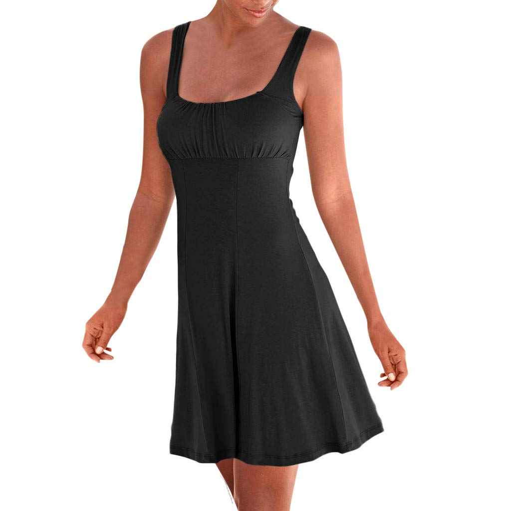 wodceeke Women Casual O-Neck Sleeveless Off Shoulder Solid Color Short Bodice Mini Dress(Black,M) by wodceeke