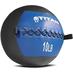 Our wall balls are great for working out your core, burning calories, and developing muscular endurance! This wall ball features a black base with a blue top, and weighs 10 lb. Throw them against the wall to hit a target, hitting multiple joi...