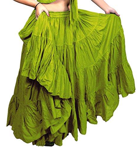 uk World Variation En Yardas Ltd Ats De Belly Vert 25 couleur Coton Seller Plain Citron Danse Gypsy Dancers Yarda Dancing Pouces Tribal L36 Jupe wqAEA