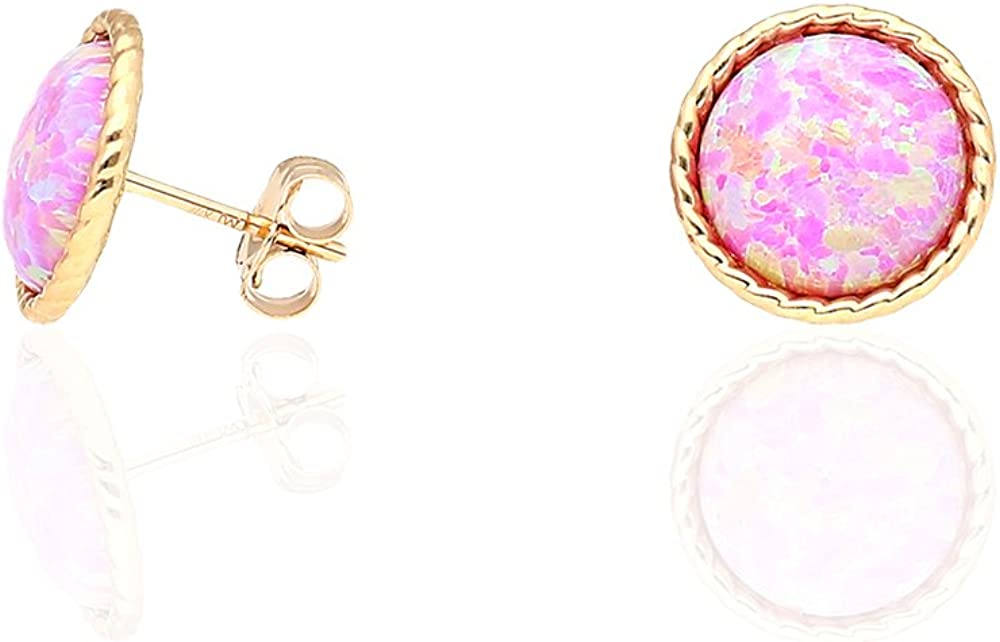 Black Yellow Gold 14k Yellow Gold White Gold Twisted Bezel Created Fire Opal Push Back Stud Earrings