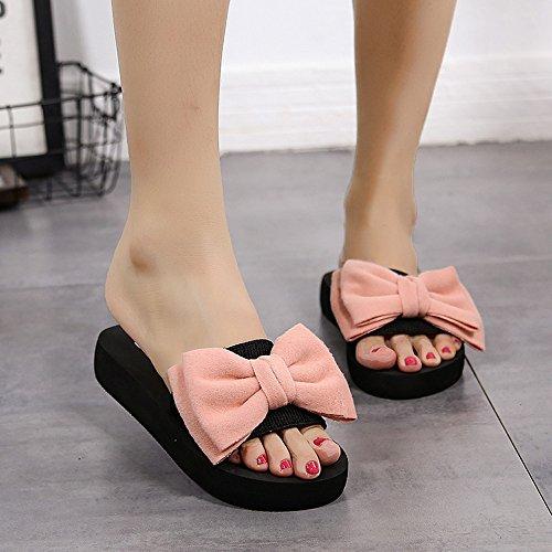 Pavimento Per Donne Rosa Infradito Ufficio Interni Sandali Pantofole Casa Lino In elegante Antidérapant Da Slippers Donna nq6pp1