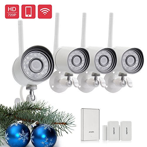 Funlux Wireless 720P HD Outdoor Day/ Night Security Camera (4 Pack) with  Beam Wifi Extender Hub and 2 Pack Door/Window Sensors