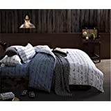Sookie 3 Piece Duvet Cover Set with 2 Pillow Shams - 800 Thread Count Luxurious&Extremely Durable Premium Bedding Collection - Double white black - Twin Size