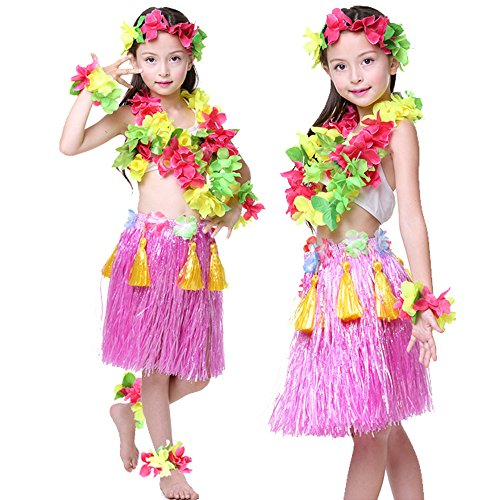 Kids Hawaiian Hula Dance Costume Ballet Performance Cosplay Dress Skirt Garland For Girl Child 40CM Full Sets