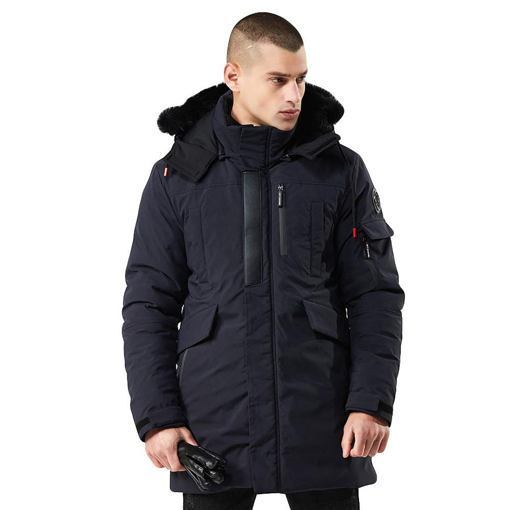 Mens Coat Balakie Zipper Hooded Cotton Jackets Windproof Thick Cotton Outwear