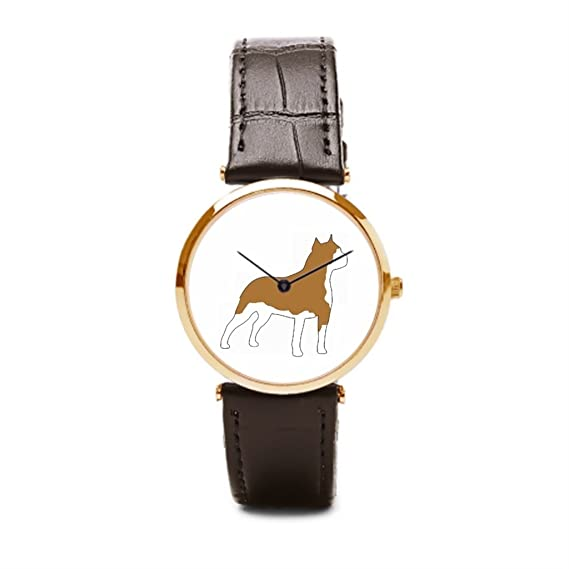 tinax para hombre muñeca correa de piel relojes baratos marcas Terrier Amstaff marrón/dorado: Amazon.es: Relojes