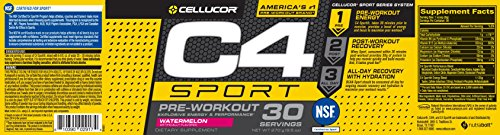 Cellucor, C4 Sport Concentrated Energy and Performance Powder, Watermelon, 30 Servings - NSF Certified for Sport