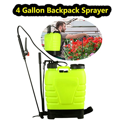 ncient 4 Gallon Backpack Sprayer 16L Portable Knapsack Hand Piston Pressure Pump Sprayers for Lawn Garden Farm Yard (4 (Piston Backpack Sprayer)