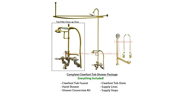 Polished Brass Faucet Clawfoot Tub Shower Kit With Enclosure Curtain