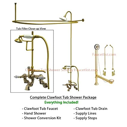clawfoot tub shower kit canada. Polished Brass Faucet Clawfoot Tub Shower Kit With Enclosure Curtain Rod  459T2CTS