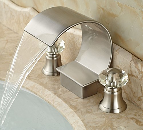 Rozin Double Crystal Knobs Waterfall Bathroom Tub Faucet Brushed Nickel