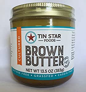 Grassfed Brown Butter by Tin Star Foods (13.5 oz): Clarified Brown Butter from 100% Pasture Raised Cows | Paleo and Whole 30 Approved | Lactose-Free