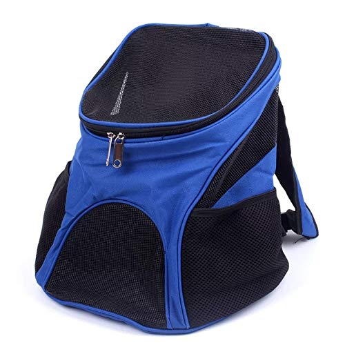 DLAGER Pet Back Carrier, Tall Profile Soft Sided Luxury Travel Tote with Fleece Bedding, Premium Brand Auto Self Locking Zippers, Under Seat Compatibility, Perfect for Cats and Small Dogs (Blue)