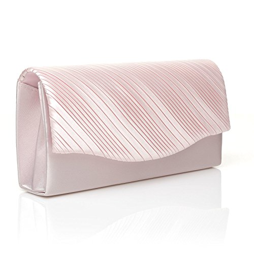 Over Fold Pleated Bag Baby Size DINKY Small Pink Satin Clutch pRp7Hq
