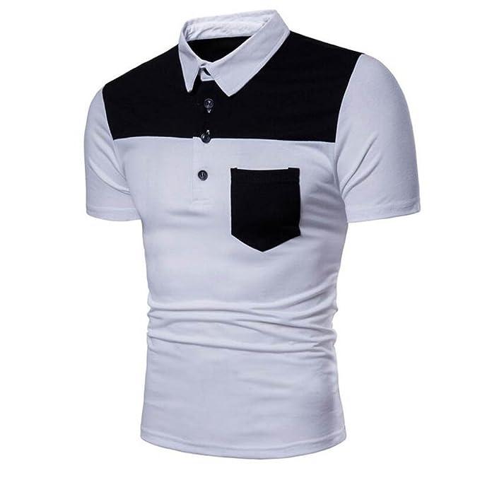 Diseño de la moda de los hombres del diseño de verano Patchwork Casual delgada manga corta camiseta blusa superior camisetas hombre manga corta☆Longra: ...