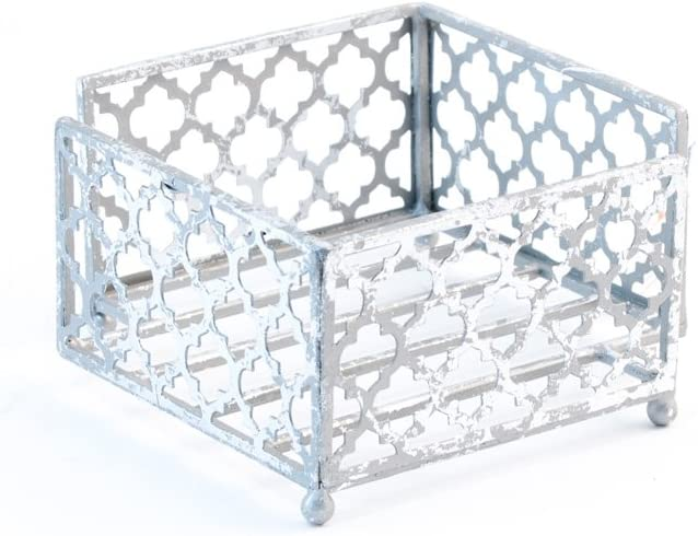 Boston International Celebrate the Home Tangier Trellis Cocktail Napkin Holder Caddy, 5.25 x 5.25-Inches, Silver Foil