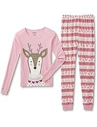 Girls' Tight Fit Reindeer Pajamas - Shirt & Pants Set
