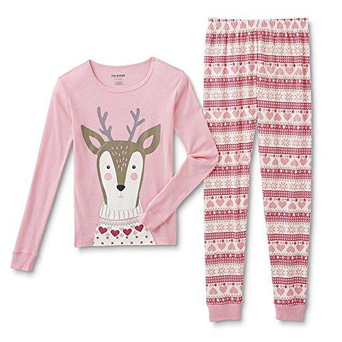 Joe Boxer Girls' Tight Fit Reindeer Pajamas - Shirt & Pants Set (XL (14/16), Reindeer)