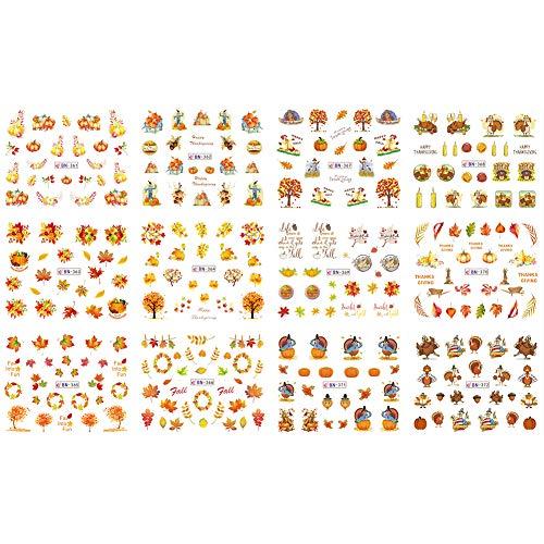 Nail Art Stickers gLoaSublim,12Sheets Thanksgiving Day Pumpkin Maple DIY Nail Art Tip Sticker Decal Decor