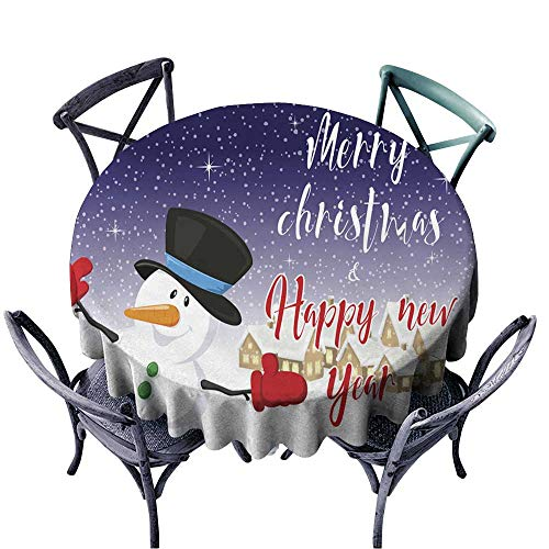 - Onefzc Resistant Table Cover Merry Christmas and Happy New Year Background Snowman Village Silhouette 2 Table Cover for Home Restaurant