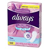 Always Thin Daily Wrapped Liners, Unscented, 162