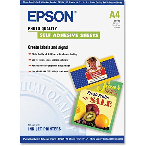 Epson Photo Quality Self-adhesive Sheets (8.3x11.7 Inches, 10 Sheets) (S041106) Self Adhesive Media