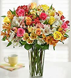 Assorted Roses & Peruvian Lilies Double Bouquet with Clear Vase by 1-800 Flowers